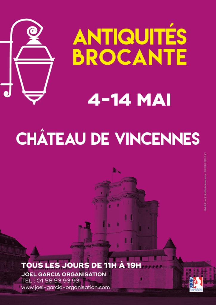 Affiche Salon Antiquités-Brocante Château de Vincennes Mai 2018